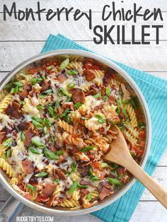 Smoky BBQ sauce, salty bacon, and creamy Monterrey Jack cheese make this quick chicken pasta irresistible. Monterrey Chicken Skillet - BudgetBytes.com