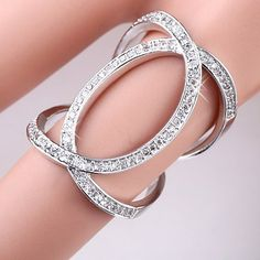 $7.99 - Rhinestoned Hollow Out Ring  - #WHOLESALE #JEWELRY - Wholesalerz.com