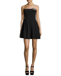 Ruby+Strapless+Mini+Dress,+Black+by+cinq+a+sept+at+Neiman+Marcus.