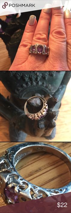 Sterling 925 & Amethyst Ring SZ. 7 Very nice condition! Sturdy, unique ring! Sz. 7 Jewelry Rings