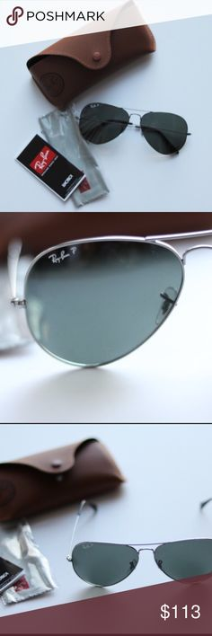 RB Polarized Authentic Ray Ban Large Metal II Aviators. 100% authentic even guaranteed from the store employees! Purchased the from another posher who ordered online (not refundable) NO ISSUES. I just bought a different color so I'm selling these! Polarized with grey frame. RB 3025. Ray-Ban Accessories Glasses