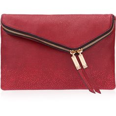 Henri Bendel Debutante Stingray Convertible Clutch ($148) ❤ liked on Polyvore featuring bags, handbags, clutches, red, genuine leather purse, convertible clutch, chain handbags, real leather purses and genuine leather handbags