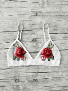 Online shopping for Embroidered Rose Applique Mesh Triangle Bralette from a great selection of women's fashion clothing & more at MakeMeChic. Cute Bras, Cute Lingerie, Lingerie Outfits, Lingerie Sleepwear, Rose Applique, Mesh Bra, Ballroom Dress, Lace Bralette, String Bikinis