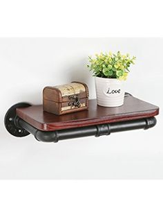 Industrial Pipe Design Metal & Wood Decorative Wall Mounted Floating Display Shelf / Book Rack - MyGift ❤ MyGift