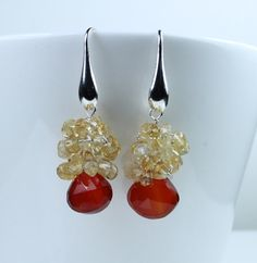 Lux Earrings Red Chalcedony wire wrapped with Citrine by art4ear, $45.00