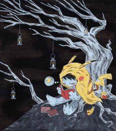 bibliolectors:  Lectura nocturna (ilustración de Martin Hsu)