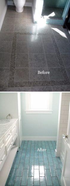 Placher salles de bain❤DIY Bathroom Flooring Remodel Using Aqua Blue Tiles. Diy Bathroom Remodel, Shower Remodel, Bathroom Renovations, Bathroom Interior, Modern Bathroom, Master Bathroom, Small Bathroom Makeovers, Bathroom Mold, Neutral Bathroom