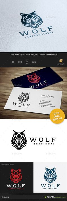 Wolf Logo Template Vector EPS, AI #logotype Download: http://graphicriver.net/item/wolf-ii/11391351?ref=ksioks