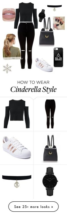 """""""All Black #1"""" by orchidjane on Polyvore featuring New Look, adidas, WithChic, Kitsch and CLUSE"""