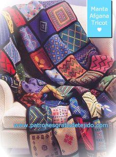 Crochet y Dos agujas: Patrones de Manta Afgana tejida en Dos Agujas