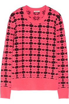 Neon-pink and black geometric-patterned mid-weight acrylic-blend Ribbed trims Slips on acrylic, nylon Dry clean Loose Sweater, Pink Sweater, Loose Shirts, Printed Shirts, Neon Pink Shirts, White Jeans Winter, Alexander Mcqueen Bag, Bohemian Print, Fall Wardrobe