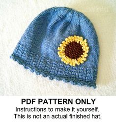 The IZZY hat - a cute sunflower cap for Falls first chilly days. A simple alternative to standard ribbing is used for the band to make it unique. The rest is knit in simple stockinette to make sure you finish quickly! A big, bold sunflower is knit separately and then added later