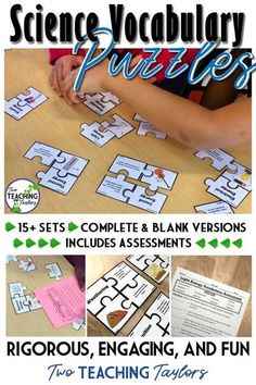 Are you looking for activities to increase student mastery of science content vocabulary? This idea uses puzzle task cards to have students review 5th grade science concepts using pictures, definitions, and examples. #5thgrade #fifthgrade #fourthgrade #4t Science Words, Vocabulary Activities, Science Resources, Science Lessons, Teaching Science, Science Education, Science Activities, Life Science, Vocabulary Strategies