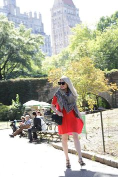 Caitlin Hartley of Styled American, girl in red swing dress and blanket scarf in Central Park http://styledamerican.com/favorite-looks-of-2015/