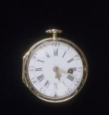 Julien Le Roy (1686−1759), Gold and Enamel Pocket Watch, case and movement displayed separately, Paris, c. 1750, gold and enamel on gold, The Frick  Collection, New York, Bequest of Winthrop Kellogg Edey; photo:  Michael Bodycomb