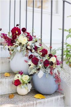 Dusty Blue and Cranberry Fall Decor - looks so pretty as entry decoration fall wedding corsage / fall wedding boutineers / fall wedding burgundy / wedding fall / wedding colors Fall Wedding Centerpieces, Wedding Table Centerpieces, Fall Wedding Colors, Wedding Flowers, Wedding Blue, Boquette Wedding, Burgundy Wedding, Fall Flowers, Autumn Wedding