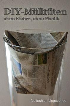 {gluefree paperbag for the trashcan / german page with google translate and photo-tutorial} Kleber- und plastikfreie DIY-Mülltüte