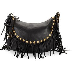 Valentino Fringe Leather Hobo Bag ($960) ❤ liked on Polyvore featuring bags, handbags, shoulder bags, fringe purse, leather man bags, leather shoulder handbags, leather fringe purse and leather handbags