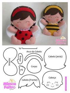 felt ladybug and bee dolls MásJoaninha/abelhinha - Marisa - Mimos de Felton what if we made one to represent each kid as an ornament on the tree?felt ladybug/bee girl pattern so pretty, nice as a brooch or charm for a bagvilt, gratis patronen, felt, Felt Patterns, Craft Patterns, Stuffed Toys Patterns, Felt Fabric, Fabric Dolls, Doll Crafts, Diy Doll, Felt Baby, Felt Toys