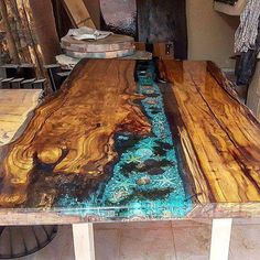 Crystal Clear Bar Table Top Epoxy Resin Coating For Wood Tabletop Resin Furniture, Repurposed Furniture, Table Furniture, Garden Furniture, Wood Table Design, Table Designs, Wood Resin Table, Resin Countertops, Wood Slab