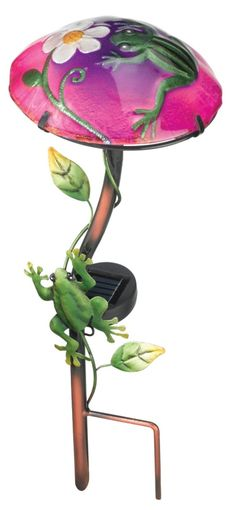 Solar Mushroom Stake Frog