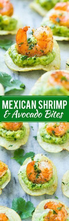 Mexican Shrimp and Avocado Bites Appetizer Recipe via Dinner at the Zoo - This recipe for Mexican shrimp bites is seared shrimp and guacamole layered onto individual potato chips. A super easy appetizer thats perfect for entertaining! Finger Food Appetizers, Appetizers For Party, Finger Foods, Appetizer Recipes, Party Snacks, Party Recipes, Mexican Appetizers, Appetizer Ideas, Mexican Tapas