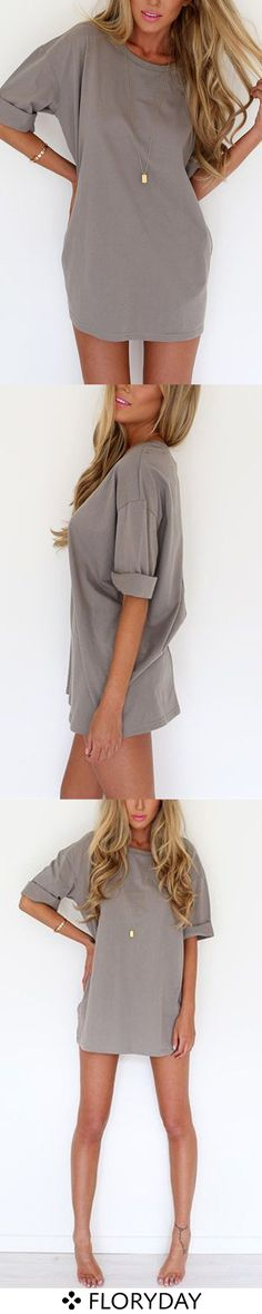 polyester grey tshirt dress