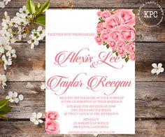 Pink wedding invitation #pinkweddinginvitation #rosesinvitation#weddinginvitation#weddingstationery