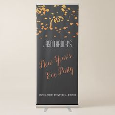 Shop Orange Gold Confetti On Black New Year's Eve Party Retractable Banner created by BodyEnglish. Happy New Year Message, Black Banner, Retractable Banner, Retro Typography, Banner Stands, Wish Quotes, Quotes About New Year, Gatsby Party, New Years Decorations