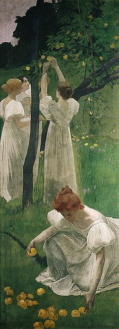 'La cueillette de pommes'  'Picking Apples', 1900 – Ernest Biéler  | Tempera on canvas.