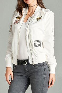 Pop Patch Light Bomber Jacket (3 Colors) – Jubilee Couture #Patch jacket #Bomber Jacket #Outerwear