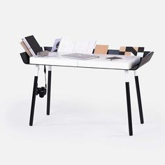 My Writing Home Office Desk 2 drawers / White MDF box with black wings -  - Office Desk - EMKO - Space & Shape - 4