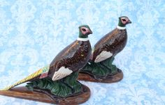 Hand Painted/Glazed Vintage Ceramic Ring Necked Pheasant Figurines -1966