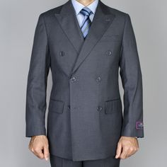 Men's Charcoal Double Breasted Suit