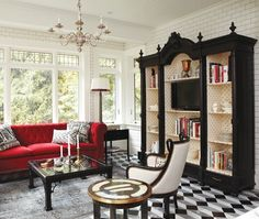 Tommy Smythe design--love the wall unit and red couch! Canadian House, Antique Bookcase, Black Bookcase, Antique Cupboard, Living Colors, Sweet Home, Boho Home, Creation Deco, Living Spaces