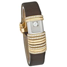 Cartier Lady's Titanium Diamond Inset Declaration Quartz Wristwatch   From a unique collection of vintage wrist watches at https://www.1stdibs.com/jewelry/watches/wrist-watches/