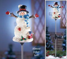 Solar Holiday Snowman Garden Stake