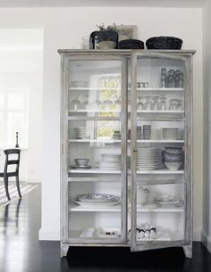 The hutch is both beautiful and effective, a wonderful way to incorporate antiques into your home with a purpose. While it makes for a gorgeous display, if you're short on closet space it's highly functional. Below are some inspirational photos! Have you ever seen anything as this beautiful piece to display your tableware on?!  A closet never looked better! Short on kitchen cabinet space? No problem! Even placed in front of a window it totally works! Broom closet, blanket closet, ...
