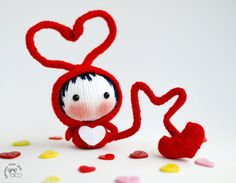 Fall in Love small Red Bug Doll. Knitting pattern by deniza17, $5.00