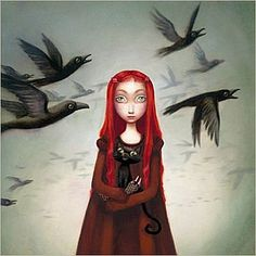 Benjamin Lacombe - red-haired girl holding black cat with birds in background.