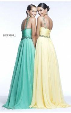 Sherri Hill 11072 Yellow Haltered Empire Prom DressOutlet