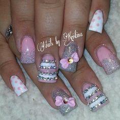 Pink & silver glitter polka