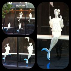 Mermaids by the window : Surreal Window display by Moncler