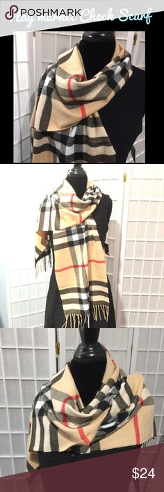 🎉Haymarket Check Scarf 🎉 Luxury without the luxury price tag!  This scarf is so soft I want to sleep and cuddle with it... But I promise I won't. 🙄😬😂 Yes, the courts have ruled that a certain store that starts with a B and ends with a Y can no longer monopolize this pattern!  Yay!  Super soft mix of angora and polyester, fringed scarf- not an eternity scarf!  Good size as you can see from the pics!  💐Bundle me! The more you buy the more you save! See my listing on bundling!💐 💋Amy…