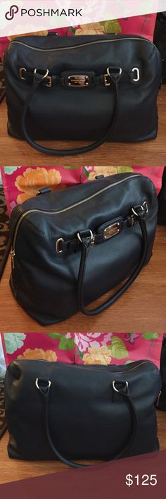 "Slightly Used Michaels Kors Navy Purse Only Used Once Michaels Kors Navy Purse Approx 10"" height 18"" length 7.5"" diameter Great for weekend getaways KORS Michael Kors Bags"