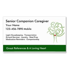 Senior Caregiver Business Cards. Make your own business card with this great design. All you need is to add your info to this template. Click the image to try it out!