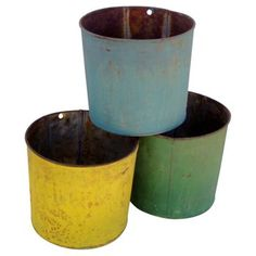 Check out this item at One Kings Lane! Painted Tin Sap Buckets, S/3