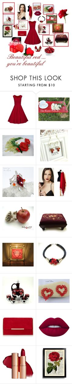 """""""Beautiful red ... you're beautiful"""" by hobbyshop2015 ❤ liked on Polyvore featuring WithChic, Parlor, Coffee Shop, Schutz, Lime Crime, modern, rustic and vintage"""