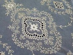 """Oh My Exquisite Antique French Net Tambour Lace Curtain 81"""" x 33"""" 2 Available 