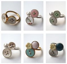 Button rings - great idea for grandma's buttons!